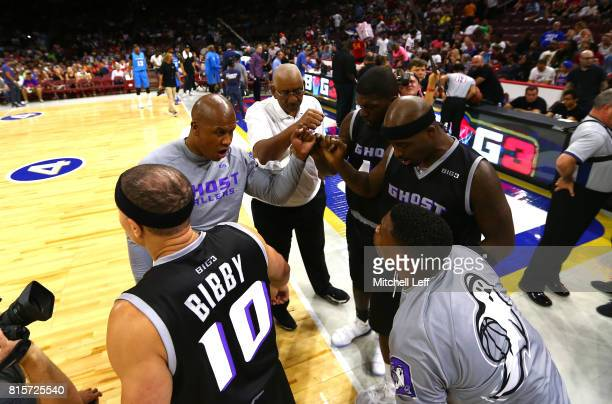 The Ghost Ballers huddle before their game against Power during week four of the BIG3 three on three basketball league at Wells Fargo Center on July...