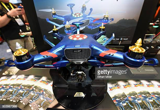 The Ghost Nighthawk quadcopter drone is displayed at the Thunder Tiger Group booth at CES 2016 at the Las Vegas Convention Center on January 7 2016...