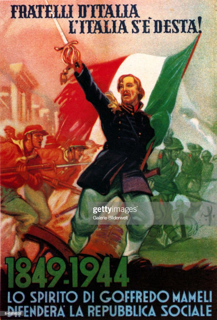 The ghost of Italian patriot Goffredo Mameli (1827 - 1849) leads Italian troops into battle during World War II, 1944. The caption reads 'Fratelli d'Italia, L'Italia s'e desta! Lo spirito di Goffredo Mameli defendera la Repubblica Sociale' ('Brothers of Italy, Italy has awoken! The ghost of Goffredo Mameli will defend the Social Republic'). A German flyer aimed at Italian troops during World War II.