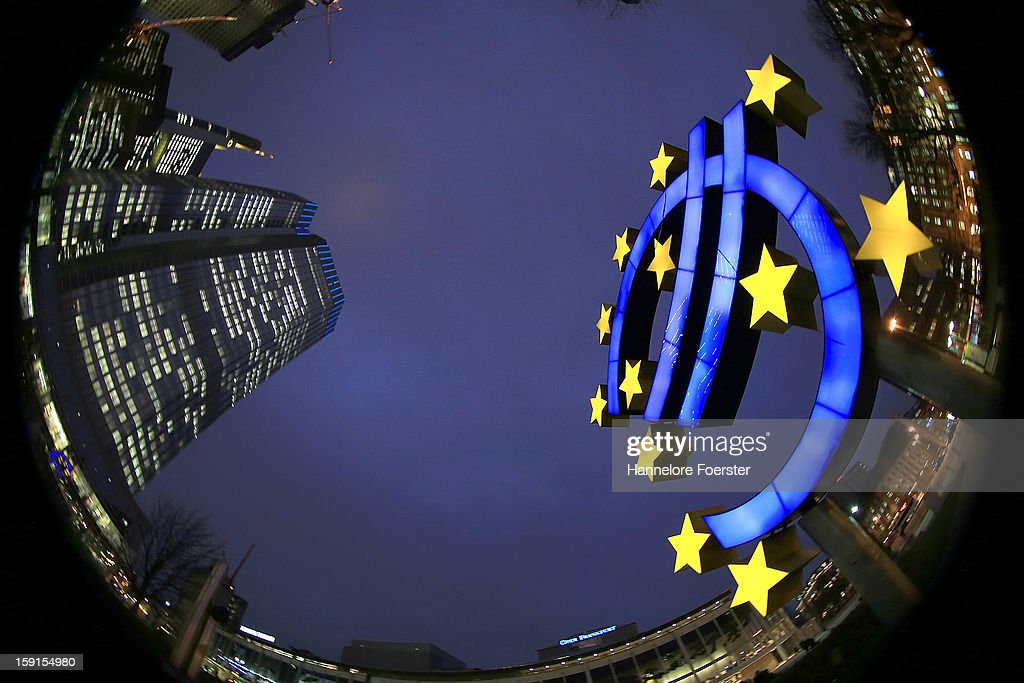 The giant Euro symbol stands outside the headquarters of the European Central Bank (ECB) on January 8, 2013 in Frankfurt am Main, Germany. The governing board of the ECB is scheduled to meet this coming Thursday and analysts are predicting the bank will keep its interest rates steady.