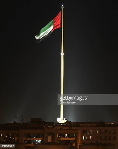 The Giant flag of Dubai is lit by spotlights at night December 13th 2005 in Dubai United Arab Emirates