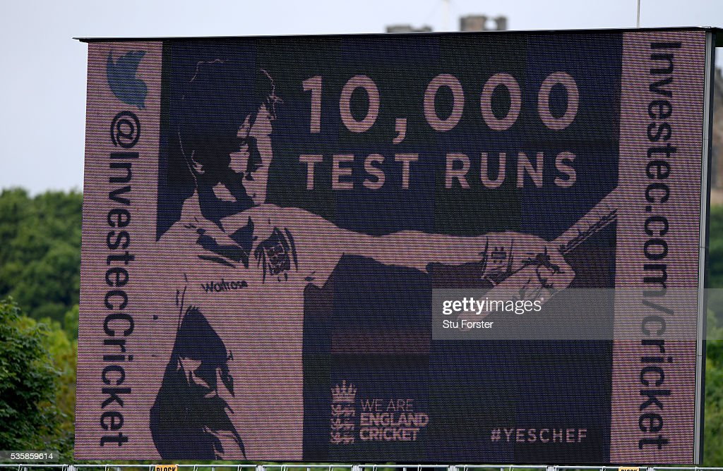 The giant scoreboard shows England batsman <a gi-track='captionPersonalityLinkClicked' href=/galleries/search?phrase=Alastair+Cook+-+Jogador+de+cr%C3%ADquete&family=editorial&specificpeople=571475 ng-click='$event.stopPropagation()'>Alastair Cook</a> after reaching 10,000 test runs during day four of the 2nd Investec Test match between England and Sri Lanka at Emirates Durham ICG on May 30, 2016 in Chester-le-Street, United Kingdom.
