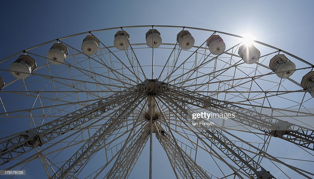 The giant wheel at the Great Yorkshire Show on July 9, 2013 in Harrogate, England. The Great Yorkshire Show is the UK's premier agricultural event and brings together agricultural displays, livestock events, farming demonstrations, food, dairy and produce stands as well as equestrian events to thousands of visitors over the three days.