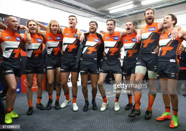 The Giants celebrates victory after the round six AFL match between the Greater Western Sydney Giants and the Western Bulldogs at UNSW Canberra Oval...