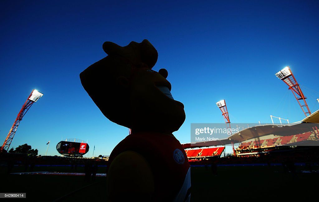 The Giants mascot is pictured before the round 14 AFL match between the Greater Western Sydney Giants and the Carlton Blues at Spotless Stadium on June 25, 2016 in Sydney, Australia.