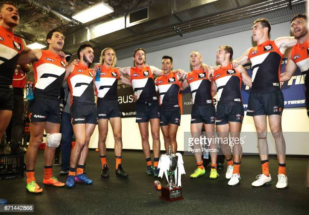 The Giants sing the club song after the round five AFL match between the Sydney Swans and the Greater Western Sydney Giants at Sydney Cricket Ground...