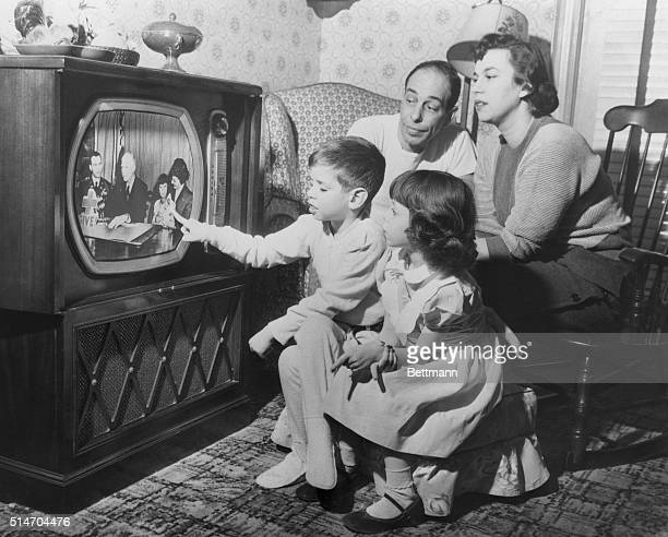 The Giardina family watches daughter Susana with President Eisenhower on a television fundraiser for the American Red Cross