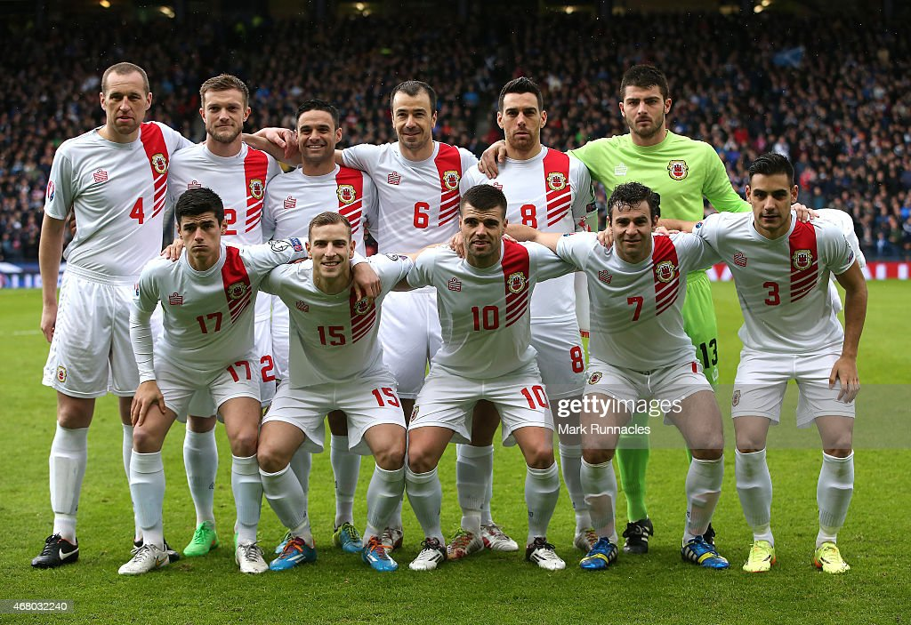 The Gibraltar team pose for a photograph prior to the EURO 2016 Qualifier match between Scotland and Gibraltar at Hampden Park on March 29, 2015 in Glasgow, Scotland.