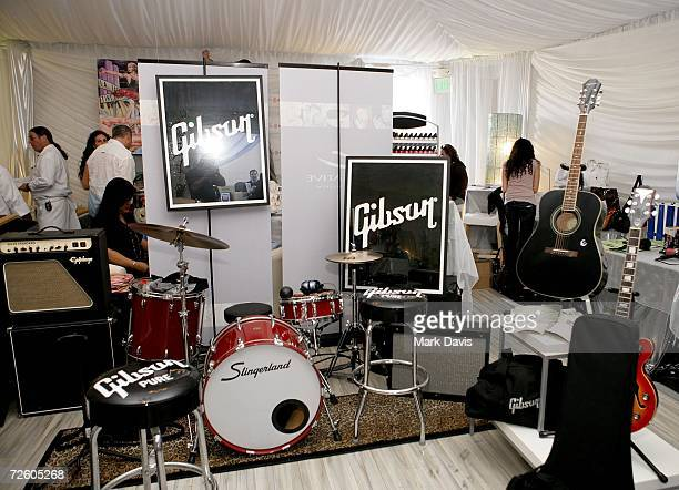 The Gibson display is shown backstage at the American Music Awards with distinctive assets held at the Shrine Auditorium on Novmber 19 2006 in Los...