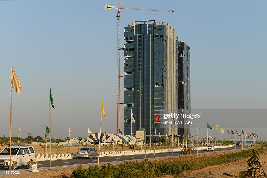 The GIFT City Tower 1 is seen during the eve of its inauguration in the outskirts of Gandhinagar some 30 kms from Ahmedabad on January 9 2013 The...