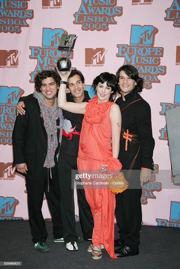 The Gift in the press room with their award for Best Portuguese Act, at the 12th annual MTV Europe Music Awards 2005 held at the Atlantic Pavilion in Lisbon.