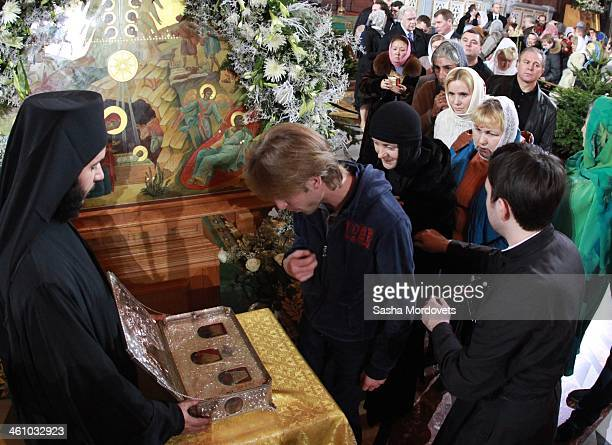 The Gifts of the Magi box is exposed during the Christmas Mass in the Christ the Saviour Cathedral in the early morning of January 7 2013 in Moscow...