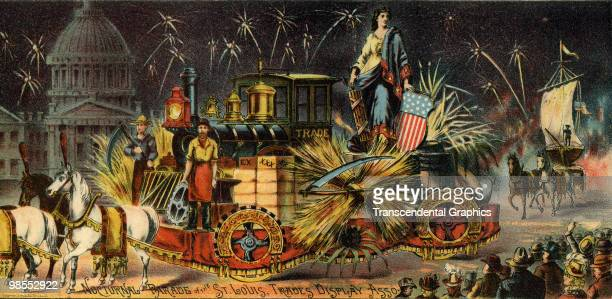 The gigantic exposition in St Louis promotes itself through elaborately printed depictions of events and displays at the event 1904 Here is the float...