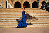 The spanish girls with flamenco fashion clothes