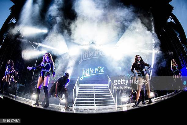 The girl pop band Little Mix members Perrie Edwards Jesy Nelson LeighAnne Pinnock Jade Thirlwall pictured on stage as they perform live at Street...