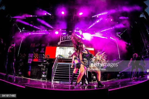 The girl pop band Little Mix pictured on stage as they perform live at Street Music Art in Assago Milan Italy