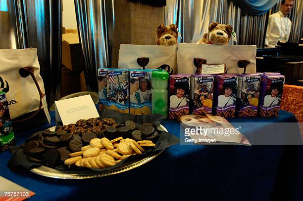 The Girl Scout cookies display is shown in the Distinctive Assets gift lounge during the 20th annual Kid's Choice Awards at Pauley Pavilion on March...