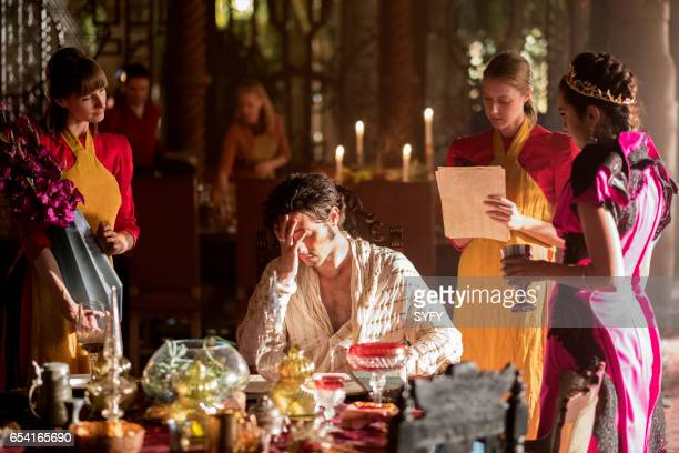 THE MAGICIANS 'The Girl Who Told Time' Episode 210 Pictured Hale Appleman as Eliot Summer Bishil as Margo