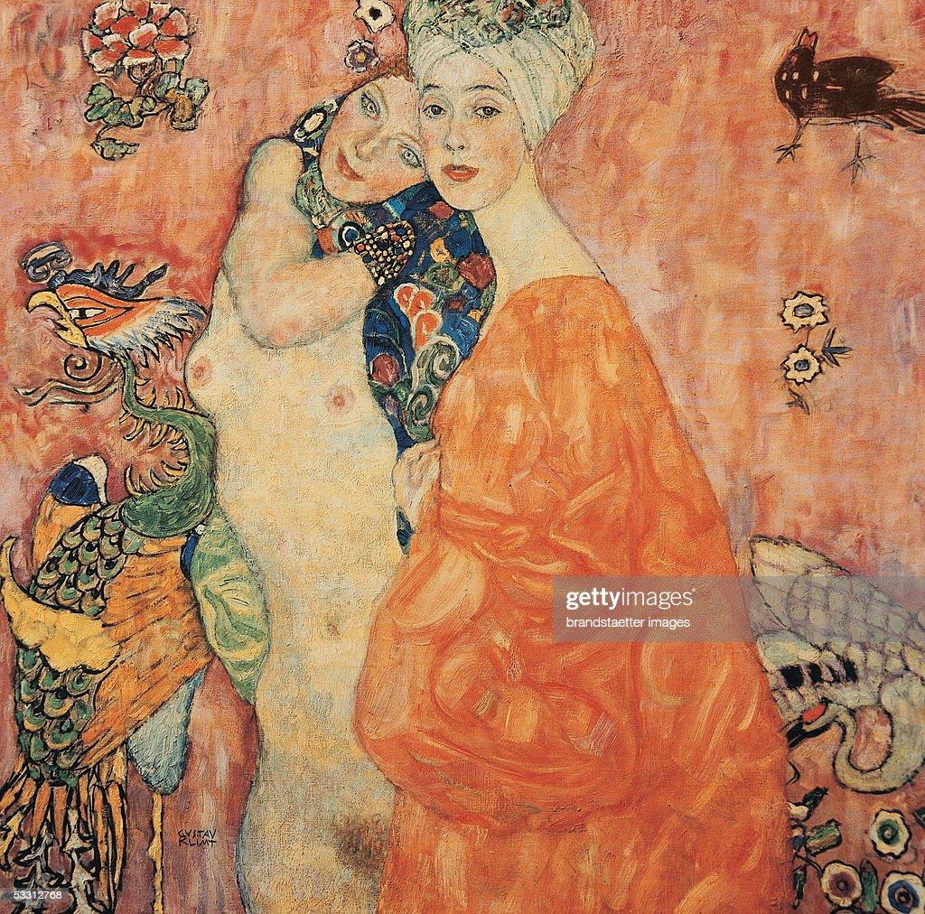 99 cm. Oil on Canvas by Gustav Klimt. 1916/17. Burnt at Castle Immendorf in 1945. (Photo by Imagno/Getty Images) [Die Freundinnen. D201. 99 : 99 cm. Oel/Lwd. 1916/17. 1945 im Schlo? Immendorf verbrannt.]