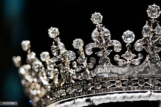 The Girls of Great Britain and Ireland tiara on display in the Diamonds A Jubilee Celebration exhibition which forms part of the summer opening of...
