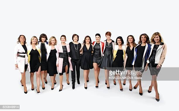 the girls presenters tv of BFMTV with Stephanie De Muru Karine De Menonville Candice Mahout Roselyne Dubois Pascale De La Tour Du Pin Ruth Elkrief...