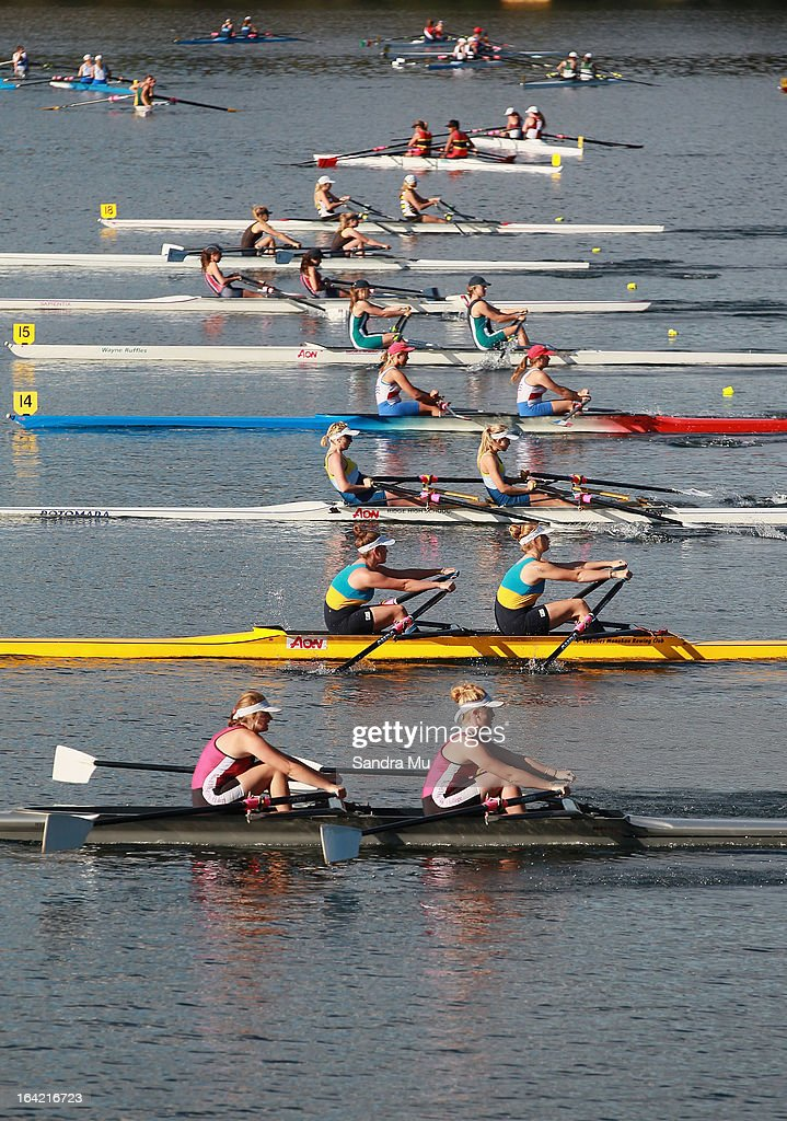 The girls U16 double sculls leave the start pontoon in the C final during day four of the Maadi Cup at Lake Karapiro on March 21, 2013 in Cambridge, New Zealand.
