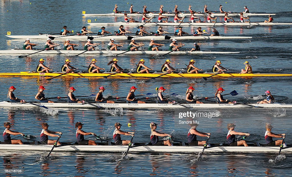 The girls U18 eight leave the start pontoon in the first repecharge during day four of the Maadi Cup at Lake Karapiro on March 21, 2013 in Cambridge, New Zealand.