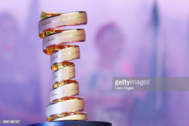 The Giro d'Italia trophy is seen during the Team Presentation for the 2014 Giro d'Italia on May 8 2014 in Belfast Northern Ireland