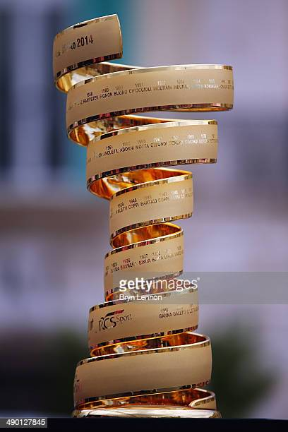 The Giro d'Italia winners trophy is seen at the start of stage four of the 2014 Giro d'Italia a 112km stage between Giovinazzo and Bari on May 13...
