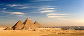Egypt. Cairo - Giza. General view of pyramids and cityscape from the Giza Plateau (on front side: three pyramids popularly known as Queens' Pyramids; next in order from left: the Pyramid of Menkaure /