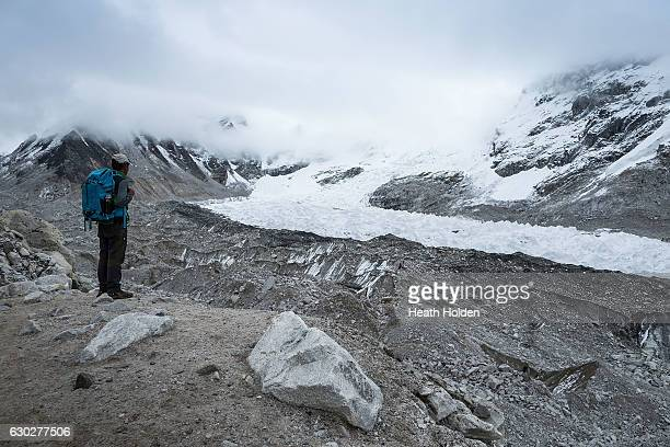 The glacier is receding due to climate change pools of water are now a common scene along the length of it September 29 2016 in Everest Base Camp...