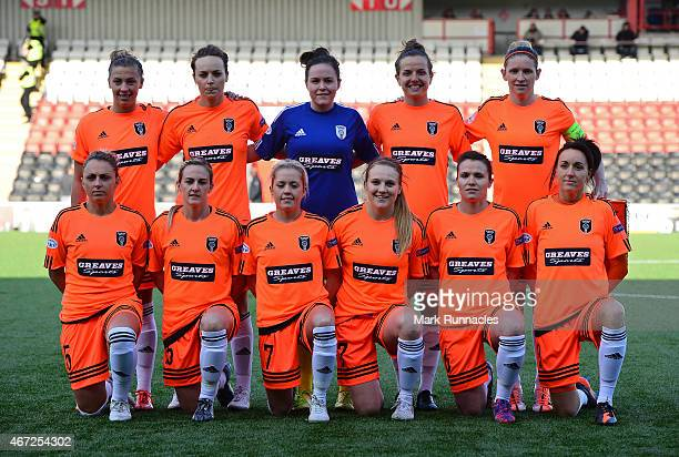 The Glasgow City team poses for a photograph during the UEFA Woman's Champions League Quarter Final match between Glasgow City and Paris SaintGermain...