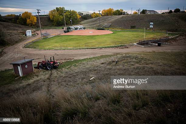 The Glasgow high school baseball diamond is seen on October 14 2014 in Glasgow Montana According to Bob Conners superintendent for Glasgow Public...
