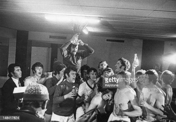 The Glasgow Rangers football team celebrate in their dressing room after winning the European Cup Winners' Cup final against FC Dynamo Moscow at Camp...