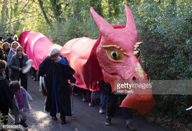 The Glastonbury Dragons are paraded through the town as they celebrate Samhain at the Glastonbury Dragons Samhain Wild Hunt 2017 in Glastonbury on...