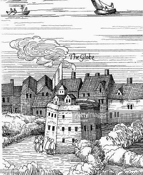 The Globe Theatre London Detail from Visscher's map of London 1616 BPA2# 4219