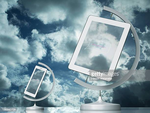 The globe with tablet PC,smartphone