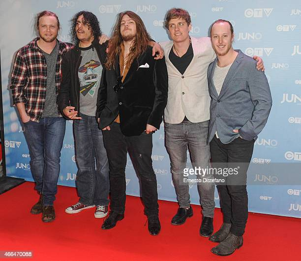 The Glorious Sons arrive at the 2015 Juno Awards at FirstOntario Centre on March 15 2015 in Hamilton Canada
