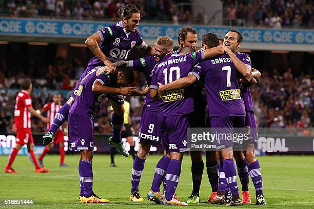 The Glory celebrate a goal by Gyorgy Sandor during the round 26 ALeague match between the Perth Glory and Melbourne City FC at nib Stadium on April 3...