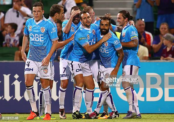 The Glory celebrate a goal during the round 20 ALeague match between the Perth Glory and Brisbane Roar at nib Stadium on February 20 2016 in Perth...