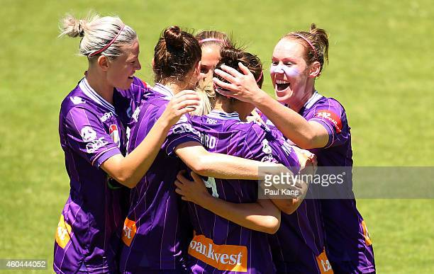 The Glory celebrate a goal during the WLeague semi final match between Perth Glory and Sydney FC at nib Stadium on December 14 2014 in Perth Australia
