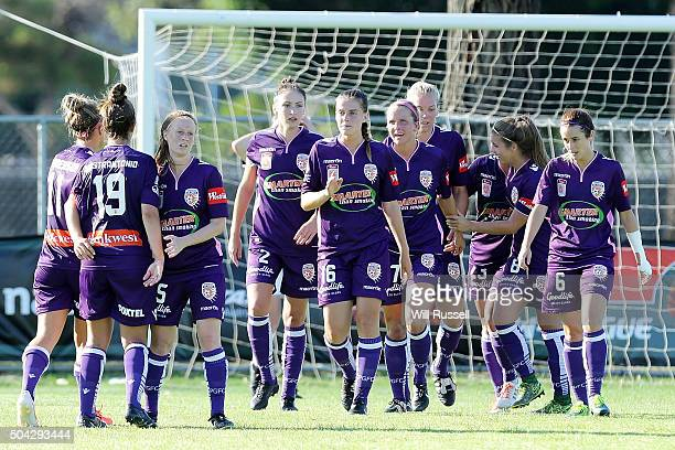 The Glory celebrate after scoring a goal during the round 13 WLeague match between Perth Glory and Adelaide United at Ashfield Sports Club on January...