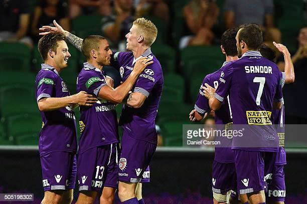 The Glory celebrate the goal from Chris Harold of the Perth Glory during the round 15 ALeague match between Perth Glory and Melbourne City FC at nib...