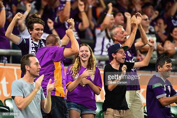 The Glory fans celebrate a goal during the round 15 ALeague match between Perth Glory and Melbourne City FC at nib Stadium on January 16 2016 in...