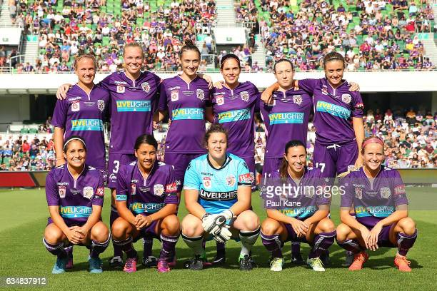 The Glory line up for a team photo during the 2017 WLeague Grand Final match between the Perth Glory and Melbourne City FC at nib Stadium on February...