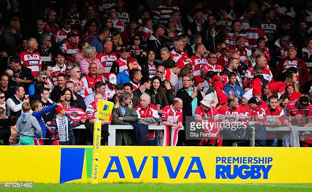 The Gloucester fans in the shed end look on during the Aviva Premiership match between Gloucester Rugby and Newcastle Falcons at Kingsholm Stadium on...