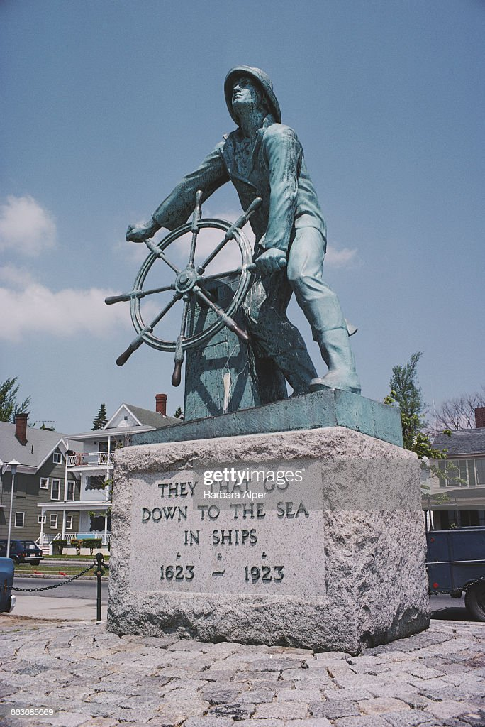 The Gloucester Fisherman's Memorial or 'Man At The Wheel' on South Stacy Boulevard in Gloucester Massachusetts June 1978 The bronze statue depicts a...