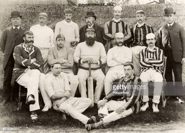 The Gloucestershire County cricket team circa 1888 the famous season when they beat the Australian team by 257 runs at Clifton College and by eight...