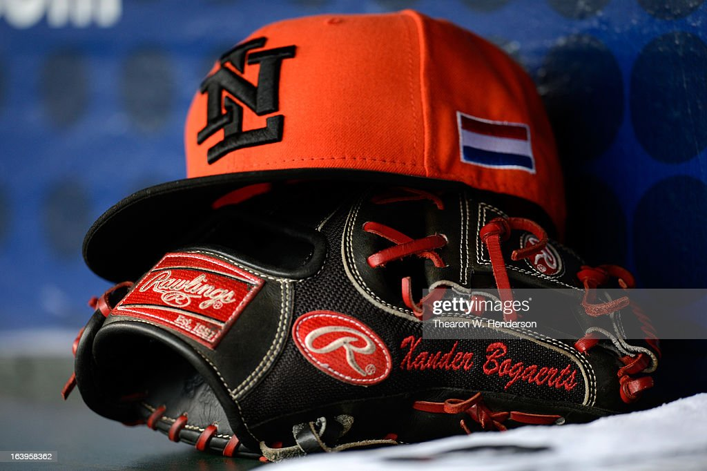 The glove and hat of Xander Bogaert of the Netherlands is seen during the semifinal of the World Baseball Classic at AT&T Park on March 18, 2013 in San Francisco, California.