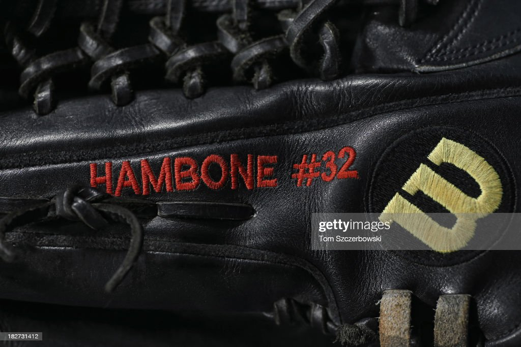 The glove belonging to Josh Hamilton #32 of the Los Angeles Angels of Anaheim with his nickname Hambone stitched in the leather during batting practice before MLB game action against the Toronto Blue Jays on September 12, 2013 at Rogers Centre in Toronto, Ontario, Canada.
